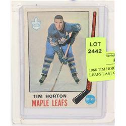 1968 TIM HORTONS HOCKEY CARD LEAFS LAST CUP SPORTS
