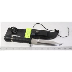 NEW STAINLESS STEEL SURVIVAL KNIFE W/COMPASS,