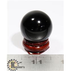 #102-BLACK OBSIDIAN SPHERE BALL 30.0mm + STAND