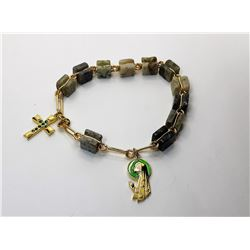 5)  ROUGH EMERALD AND GOLD TONE