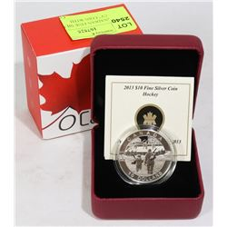 """2013 CANADIAN FINE SILVER $10 """"HOCKEY"""" COIN WITH"""