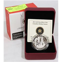 """2013 CANADIAN FINE SILVER $10 """"CANADIAN HOLIDAY"""