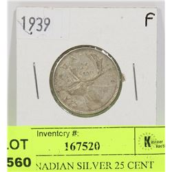 1939 CANADIAN SILVER 25 CENT COIN