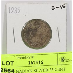 1935 CANADIAN SILVER 25 CENT COIN