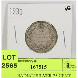 1930 CANADIAN SILVER 25 CENT COIN