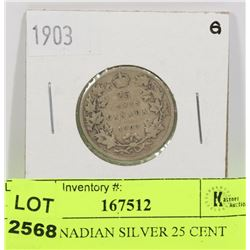 1903 CANADIAN SILVER 25 CENT COIN