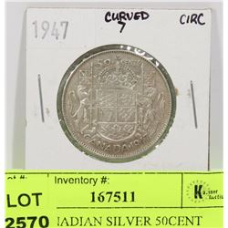 1947 CANADIAN SILVER 50CENT COIN
