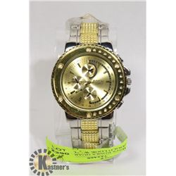 NEW MEN'S ROSRA QUARTZ STEEL/GOLD LOOK WATCH