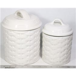 CANISTER SET OF 2 WHITE CHINA BASKET WEAVE