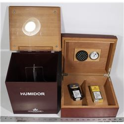 HUMIDORS (2) WITH COHIBA AND MONTECRISTO CIGARS