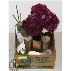 BOX W/HOUSEHOLD DECOR INCLUDING 4-PC