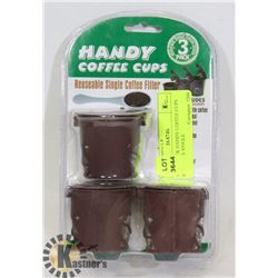 NEW 3PACK HANDY COFFEE CUPS REUSABLE SINGLE