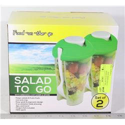 NEW 2PC SALAD TO GO WITH DRESSING CONTAINER AND