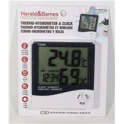 NEW THERMO- HYGROMETER & CLOCK