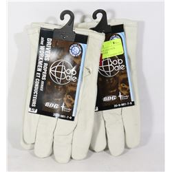 TWO NEW BOB DALE LEATHER WINTER LINED GLOVES