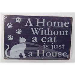NEW CAT THEME METAL SIGN