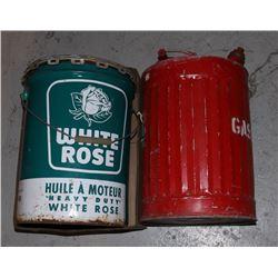 VINTAGE 5 GALLON WHITE ROSE OIL TIN & GAS CAN