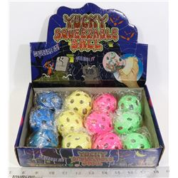 RETAIL DISPLAY OF YUCKY SQUEEZABLE BALLS