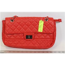 NEW RED FAUX LEATHER WOMENS PURSE