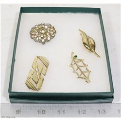 4 VINTAGE JEWELRY BROOCHES GOLD TONED
