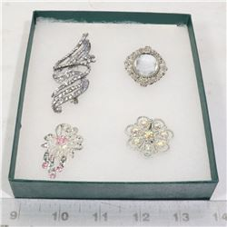 4 VINTAGE JEWELRY BROOCHES SILVER TONED
