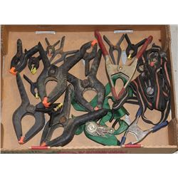 FLAT OF ASSORTED CLAMPS AND RATCHET STRAPS