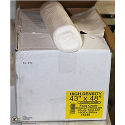CASE OF 200 - 43 X 48 CLEAR GARBAGE BAGS