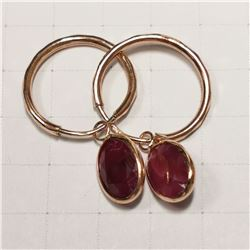 10K ROSE GOLD RUBY(3.1CT)  EARRINGS (~WEIGHT 1.16G
