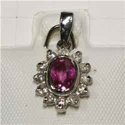 14K WHITE GOLD PINK SAPPHIRE(0.6CT) DIAMOND(0.18CT