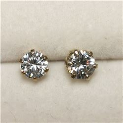 10K YELLOW GOLD CUBIC ZIRCONIA 5*5MM EARRINGS
