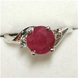 10K WHITE GOLD BERMESS RUBY(2.25CT) DIAMOND(0.1CT)