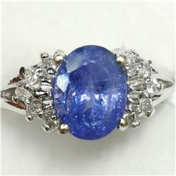 14K WHITE GOLD TANZANITE(1.9CT) DIAMOND(0.2CT)