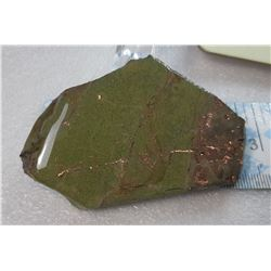 7)  POLISHED GREEN NEPHRITE WITH COPPER