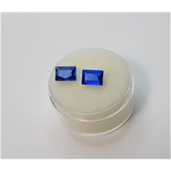 13) LOT OF 2 EMERALD CUT 1 TCW BLUE SPINEL