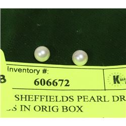 VINTAGE SHEFFIELDS PEARL DROP EARRINGS IN ORIG BOX