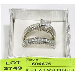 NEW CZ TWO PIECE RING SET - SIZE 8