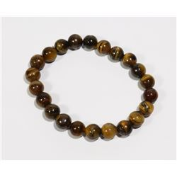 #174-NATURAL TIGER EYE BEAD BRACELET 8mm/7.5""