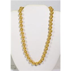 """#24-GOLDEN SEA SHELL PEARL NECKLACE 10mm/15"""""""