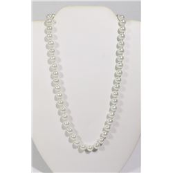 #18-IVORY SEA SHELL PEARL NECKLACE 8mm/15""