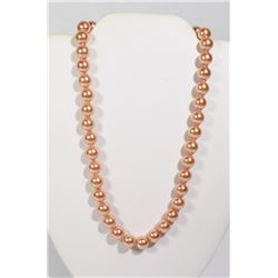 #14-ORANGE SEA SHELL PEARL NECKLACE 10mm/15""