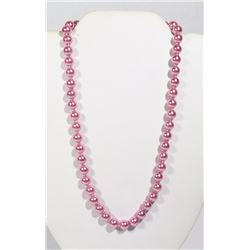 #9-DARK PINK SEA SHELL PEARL NECKLACE 8mm/15""