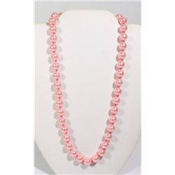 #5-PINK SEA SHELL PEARL NECKLACE 10mm/15""