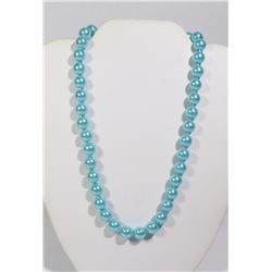#1-SKY BLUE SEA SHELL PEARL NECKLACE 10mm/15""