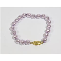 #30-LIGHT PURPLE SEA SHELL PEARL BRACELET 8mm/7.5""