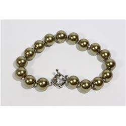 #25-DARK GOLD SEA SHELL PEARL BRACELET 10mm/7.5""
