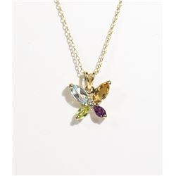 #144-TOPAZ/CITRINE/AMETHYST NECKLACE/PENDANT