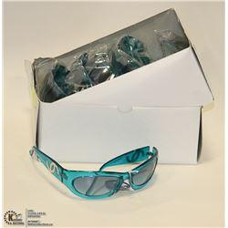 BOX OF AQUA BLUE DESIGNER SUN GLASSES