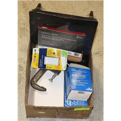 BOX OF ASSORTED TOOLS AND SUPPLIES INCLUDING