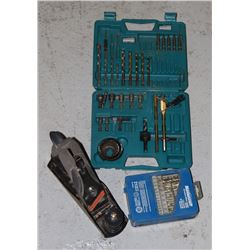 BOX OF TOOLS INCLUDING DRILL BITS, PLANER, AND