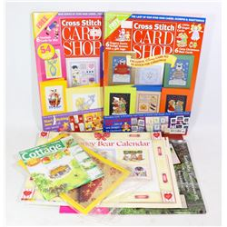 FLAT OF CROSS STITCH BOOKS AND KITS